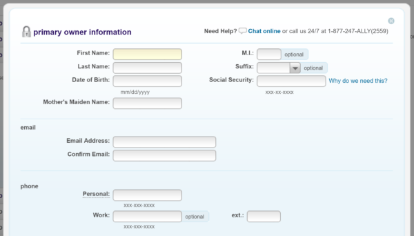 Step 3: Primary account owner details