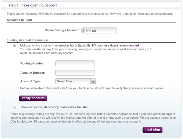 Step 5: Funding your account electronically...