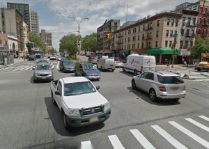 Bowery and Delancey, Manhattan, from the street