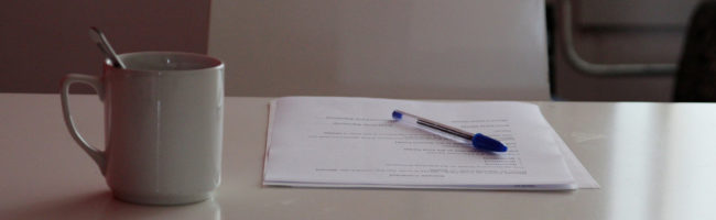 Desk and contract