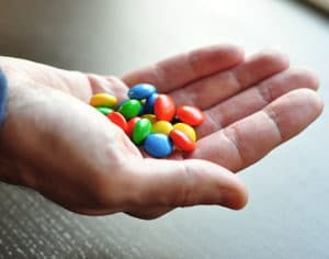 M&Ms in hand