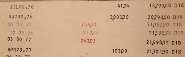 Old bank statement