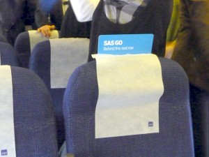 Gee, thanks for differentiating your product. (SAS GO means Coach Class.)